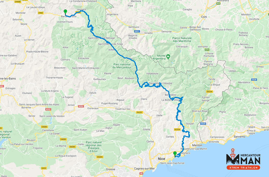 Mercantour Man Xtrem Triathlon Gravel Map