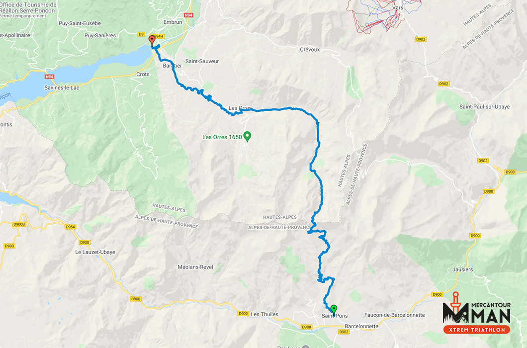 Mercantour Man Xtrem Triathlon Trail Map