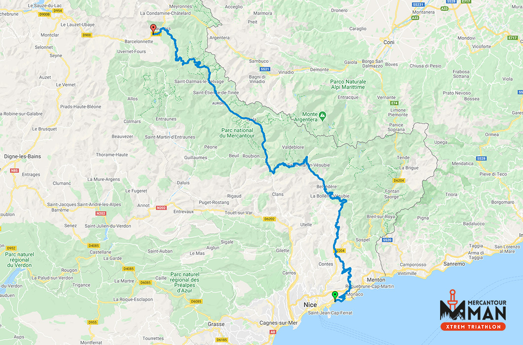 Mercantour Man Xtrem Triathlon Vélo map